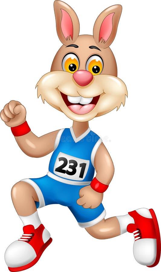 Śmieszny królik kreskówki bieg z uśmiechem i falowaniem ilustracji