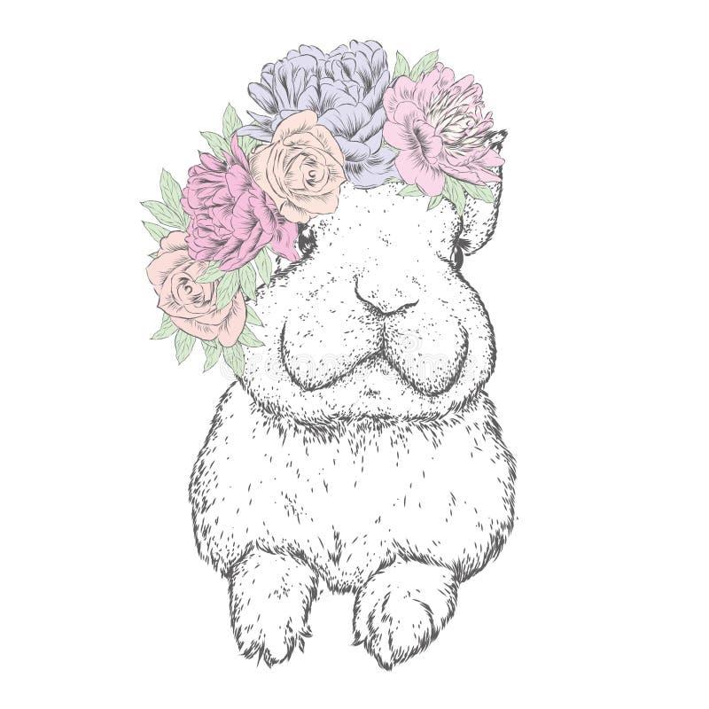 Śmieszny królik w kwiatu wianku również zwrócić corel ilustracji wektora Peonie i róże ilustracja wektor
