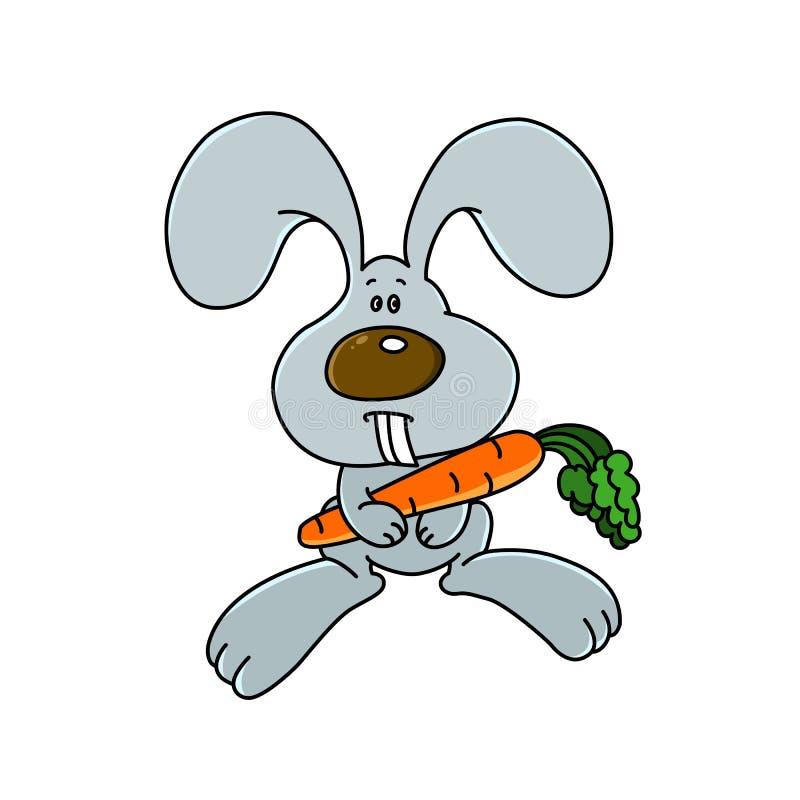 Śmieszny królik z pomarańczową marchewką EPS8 royalty ilustracja