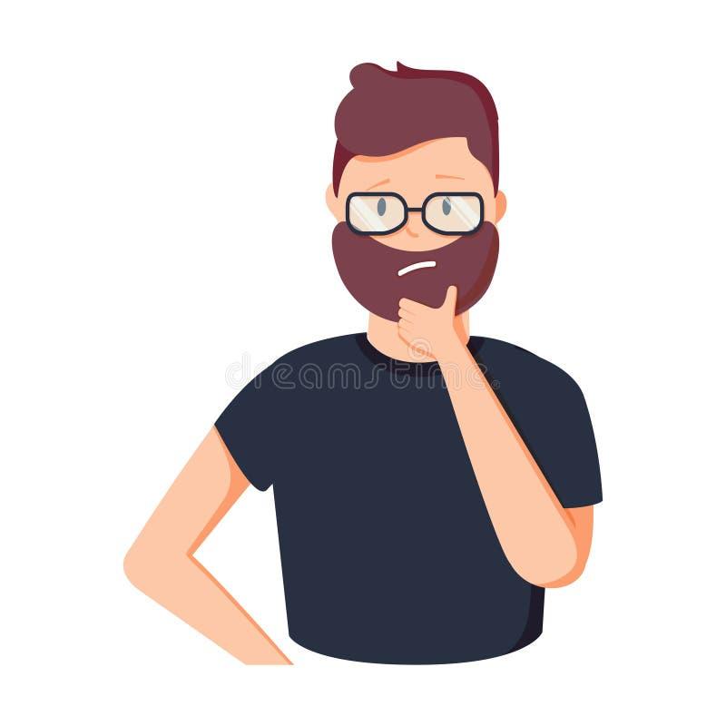 Śmieszny kreskówka biznesmena główkowanie Osoba w szkłach ma gest ilustrację Kreatywnie mężczyzna brainstorming royalty ilustracja