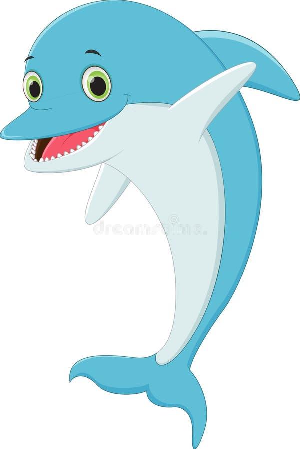 Śmieszny kreskówka delfin ilustracja wektor