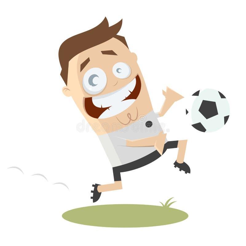 Śmieszny kreskówka gracz piłki nożnej royalty ilustracja