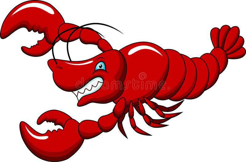 śmieszny kreskówka homar royalty ilustracja