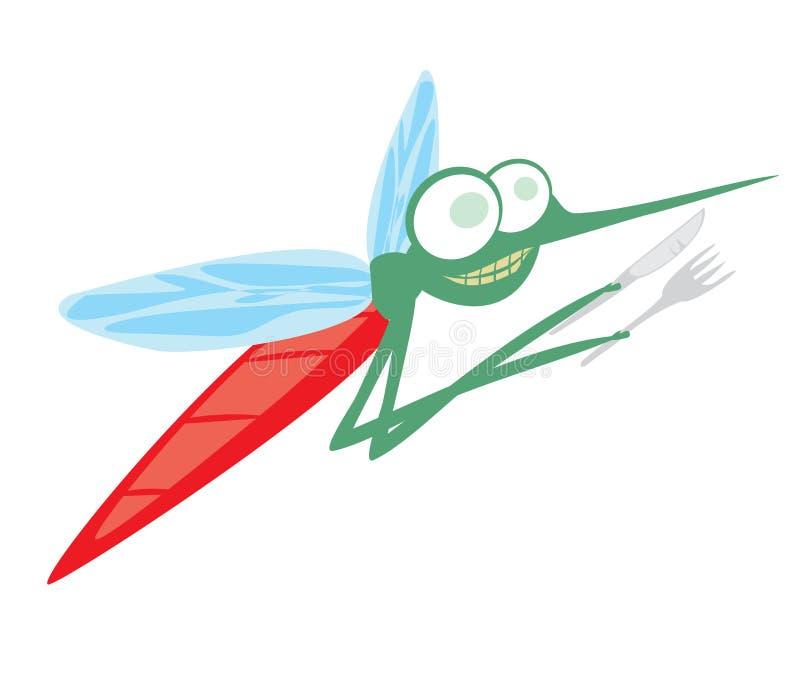 Śmieszny kreskówka komar z rozwidleniem i nożem royalty ilustracja