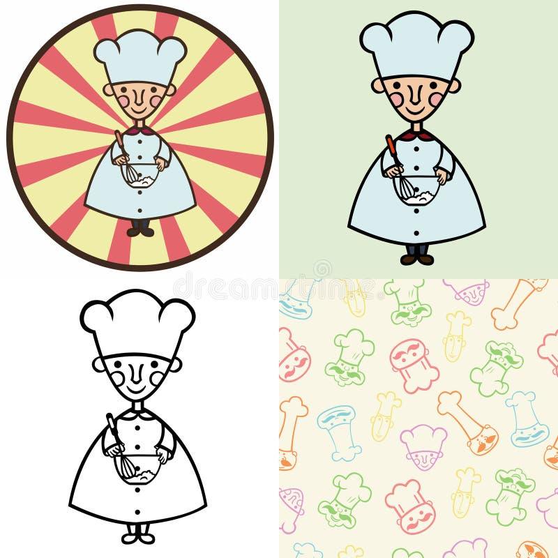 Śmieszny kreskówka kucharz ilustracja wektor