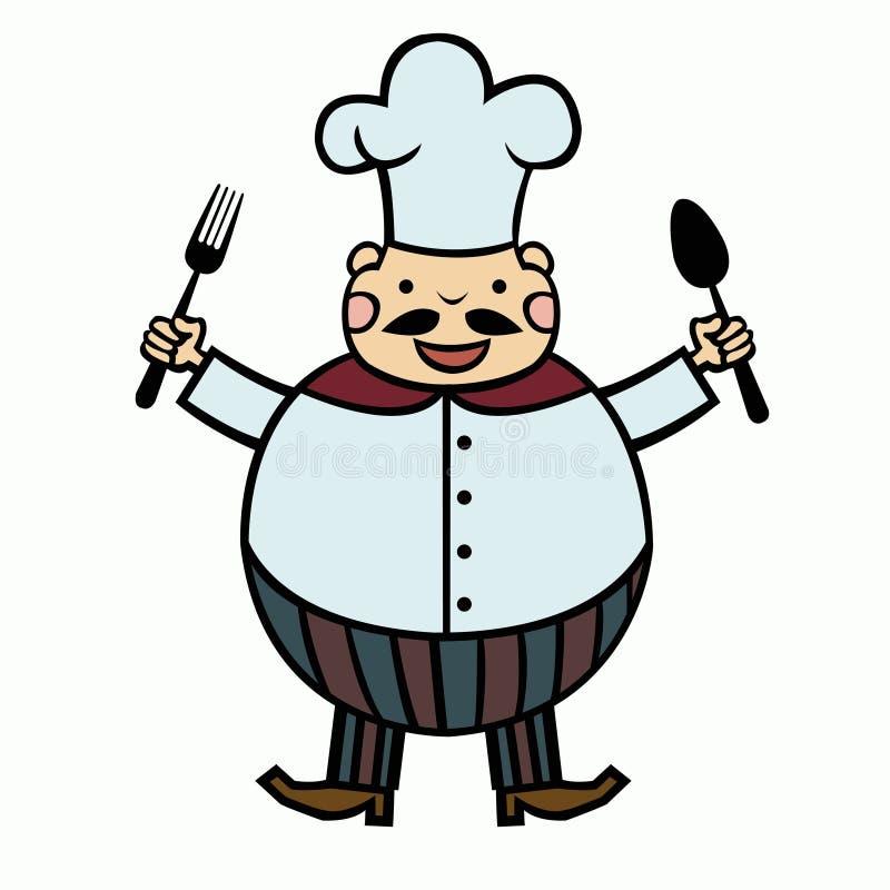 Śmieszny kreskówka kucharz royalty ilustracja