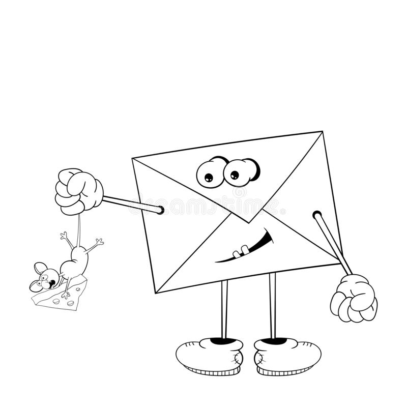 Śmieszny kreskówka list z oczami, rękami, nogami i usta trzyma małej myszy ogonem który gryźć ser, czarny white ilustracja wektor