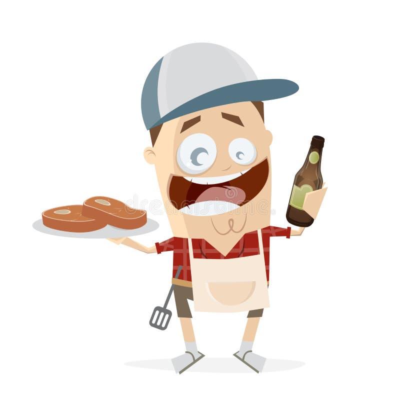Śmieszny kreskówka mężczyzna z stkami i piwem royalty ilustracja