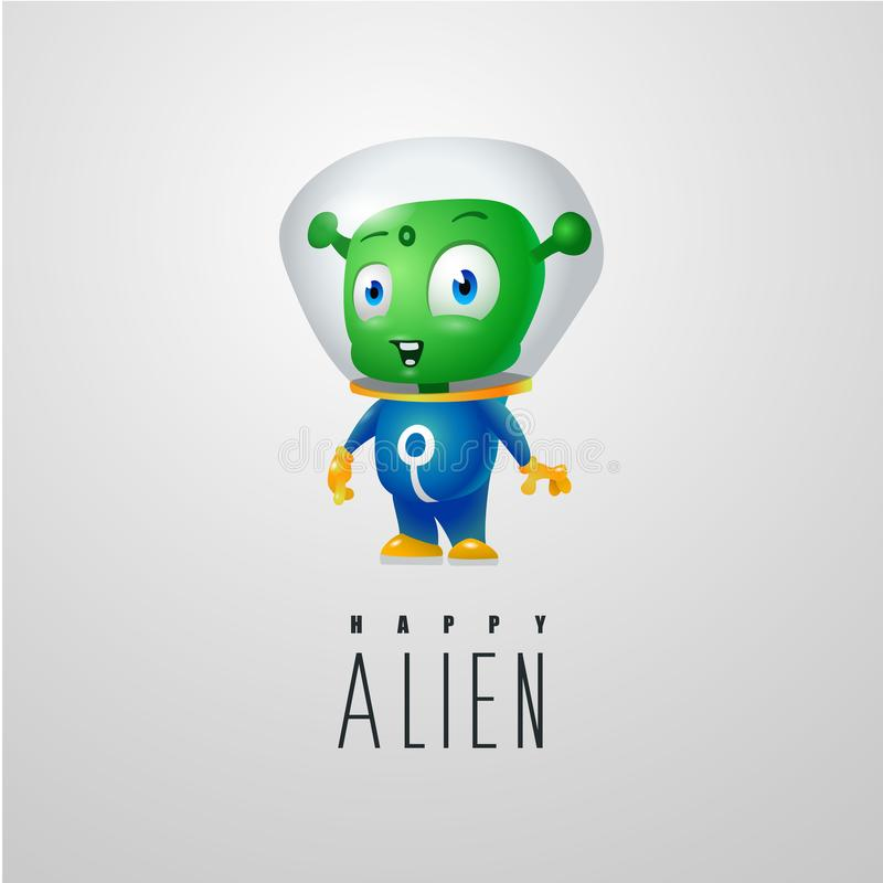 Śmieszny kreskówka obcy w astronautycznym kostiumu, życzliwy zielony Marsjański, charakter dla firmy w nowożytnym 3D stylu royalty ilustracja