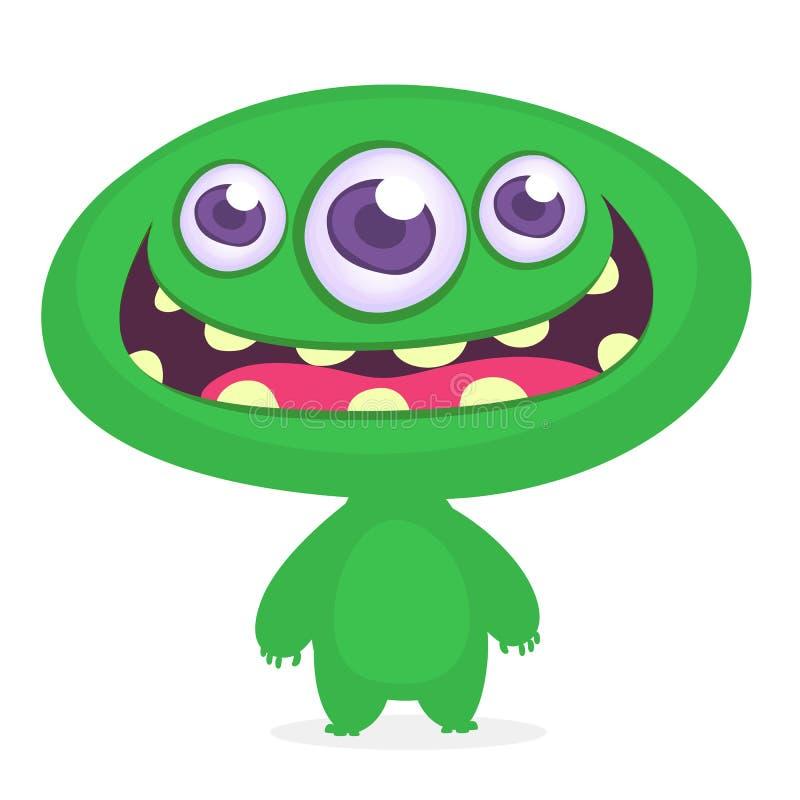 śmieszny kreskówka potwór Wektoru potwora zielona ilustracja Halloweenowy projekt ilustracji