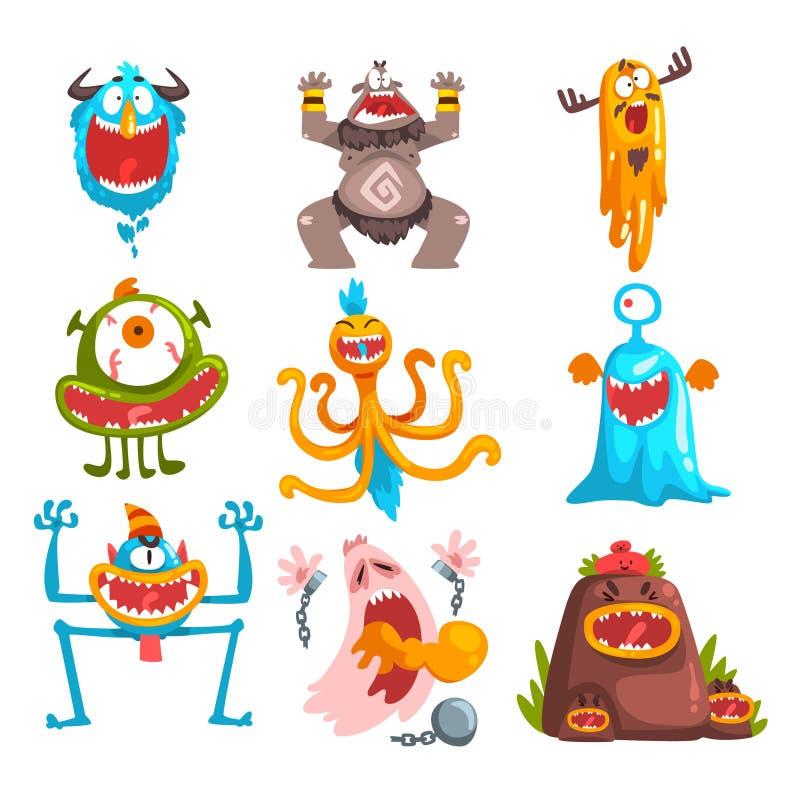 Śmieszny kreskówka potwór z różnymi emocjami, kolorowa bajecznie istota charakterów wektoru ilustracja ilustracji