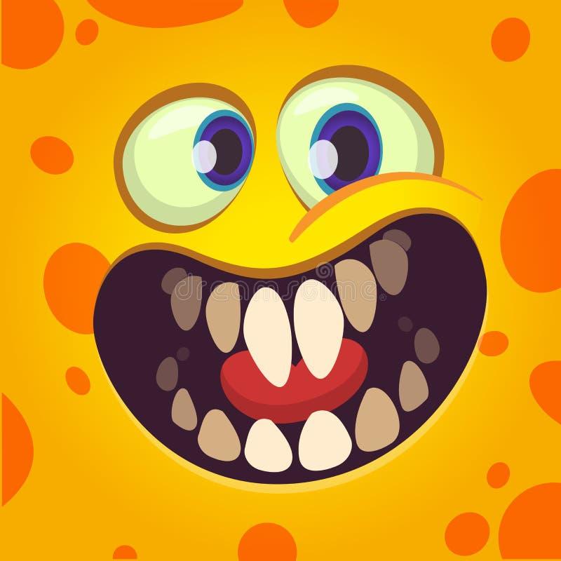 Śmieszny kreskówka potwora twarzy avatar z dużym uśmiechem pełno zęby ilustracja wektor