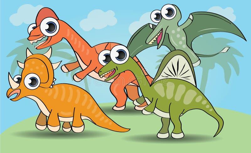 Śmieszny kreskówka stylu dinosaur ilustracja wektor