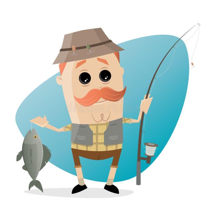 Śmieszny kreskówka wędkarz z ryba i połowu prąciem royalty ilustracja