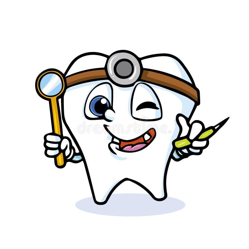 Śmieszny kreskówka ząb ilustracji