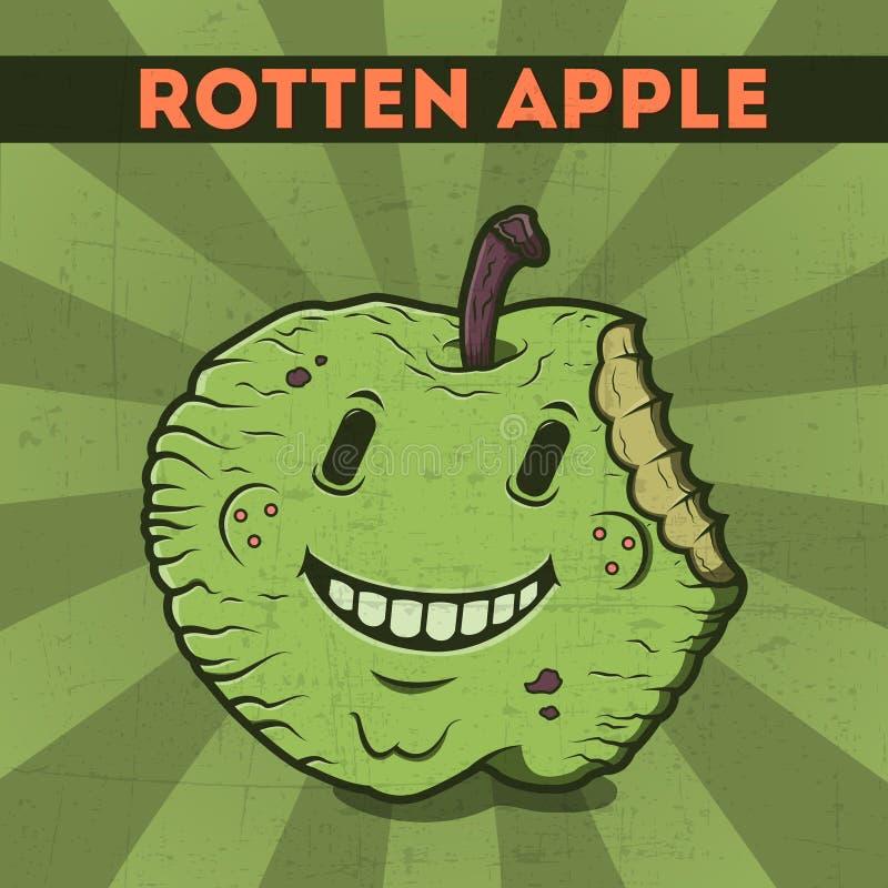 Śmieszny, kreskówka, złośliwy, fiołkowy potwora jabłko na scratchy retro tle. Wektorowa ilustracja. Halloween karta. Przegniły app ilustracja wektor