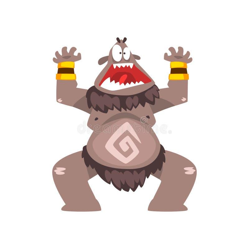 Śmieszny kreskówki Bigfoot potwór, kolorowa bajecznie istota charakteru wektoru ilustracja royalty ilustracja