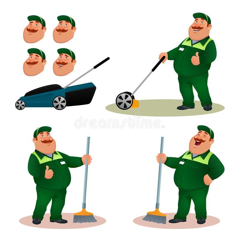 Śmieszny kreskówki janitor z emocjami ustawiać ilustracja wektor