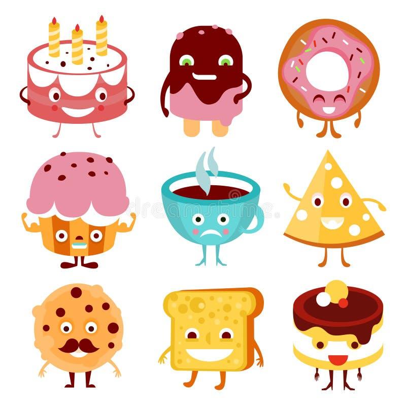 Śmieszny kreskówki jedzenie, napój i ilustracji