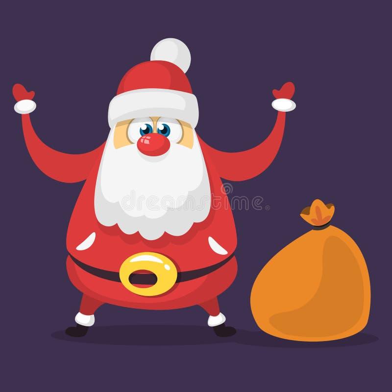 Śmieszny kreskówki Santa Claus charakter z brown torbą z prezentami Wektorowa Bożenarodzeniowa ilustracja royalty ilustracja