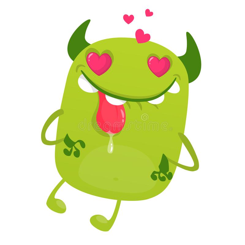 Śmieszny kreskówki zieleni potwór w miłości pokazuje jęzor Wektorowa ilustracja śliczny potwór dla StValentine ` dnia ilustracja wektor