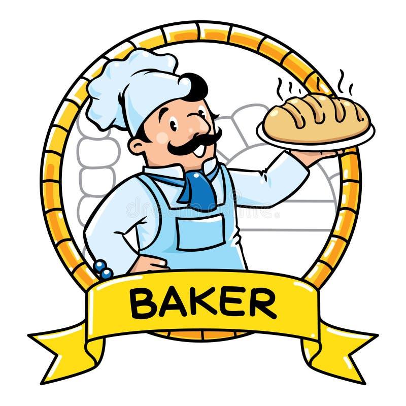 Śmieszny kucharz lub piekarz emblemat Zawodu ABC serie ilustracja wektor