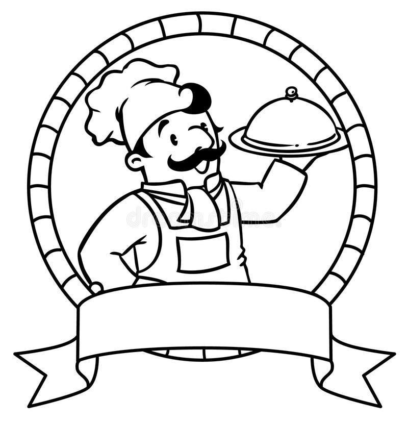 Śmieszny kucharz lub szef książkowa kolorowa kolorystyki grafiki ilustracja emblemat ilustracji