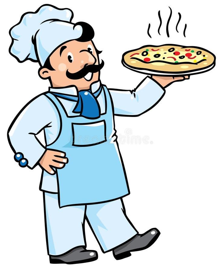 Śmieszny kucharz lub szef kuchni z pizzą royalty ilustracja