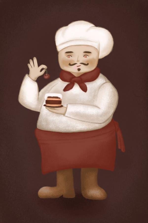 Śmieszny kucharz w kuchni ilustracja wektor
