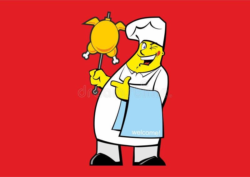 Śmieszny kucharz z kurczaków skewers royalty ilustracja