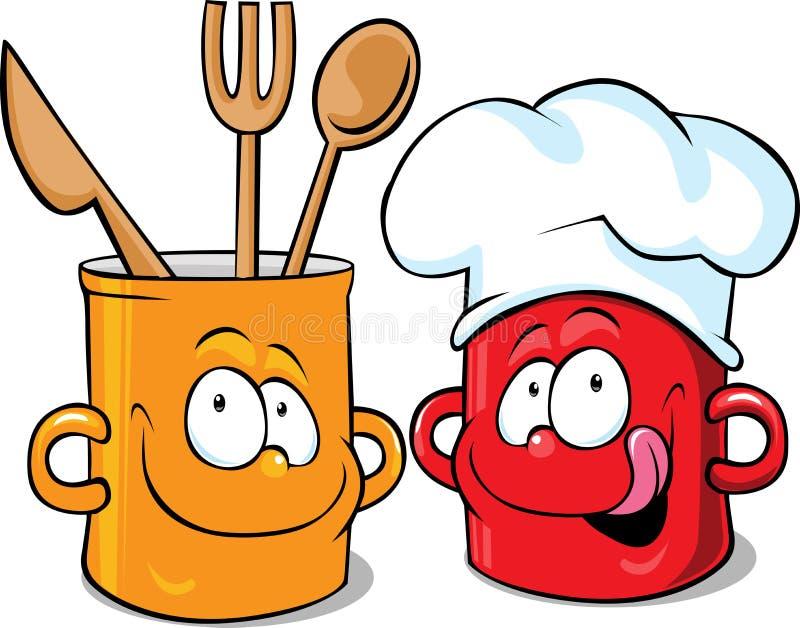 Śmieszny kuchenny garnka charakter - garnka wektor ilustracja wektor