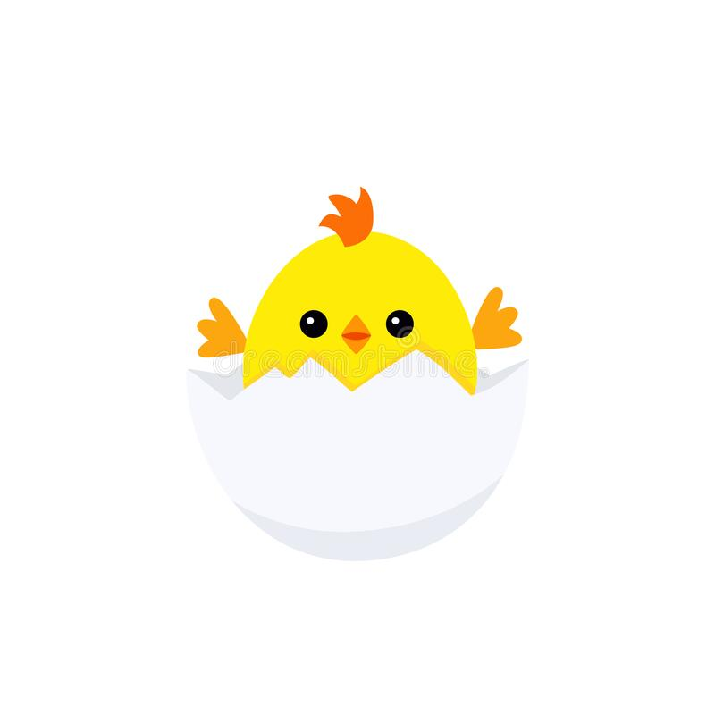 Śmieszny kurczaka dziecko wśrodku jajka ilustracja wektor