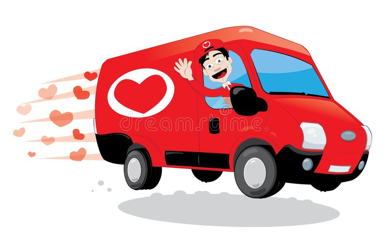Śmieszny kurier dostarcza ciężarówkę miłość Świątobliwy walentynki i miłości pojęcie ilustracji