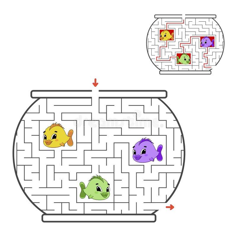 Śmieszny labirynt gemowi dzieciaki Łamigłówka dla dzieci Kreskówka styl Labitynt zagadka kolor plażowej dziewczyny ilustracyjny m ilustracji