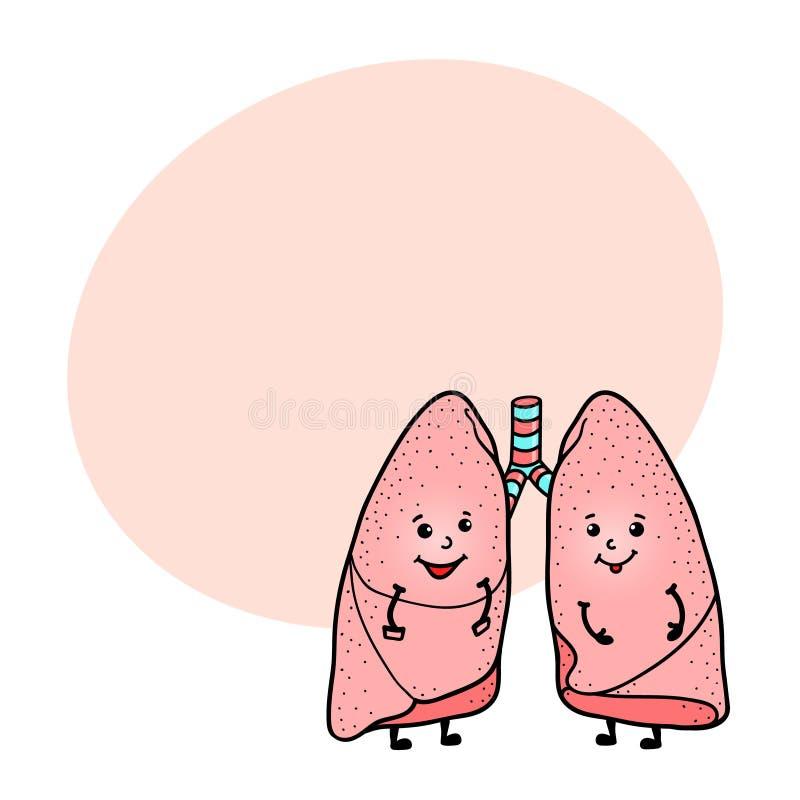 Śmieszny ludzki płuco charakter z przestrzenią dla teksta ilustracja wektor