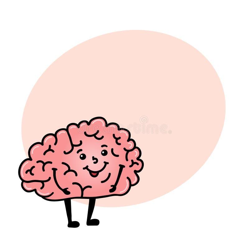 Śmieszny ludzkiego mózg charakter z przestrzenią dla teksta ilustracji