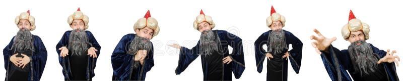 Śmieszny mądry czarownik na bielu fotografia stock