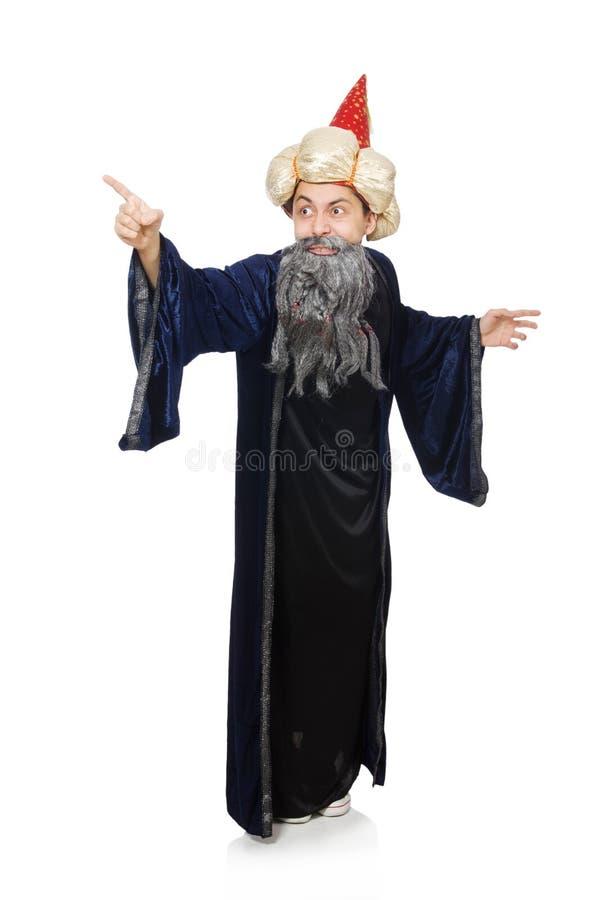 Śmieszny mądry czarownik odizolowywający zdjęcie royalty free