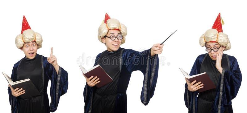 Śmieszny mądry czarownik odizolowywający na bielu obraz stock