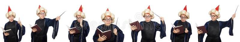 Śmieszny mądry czarownik odizolowywający na bielu zdjęcie royalty free