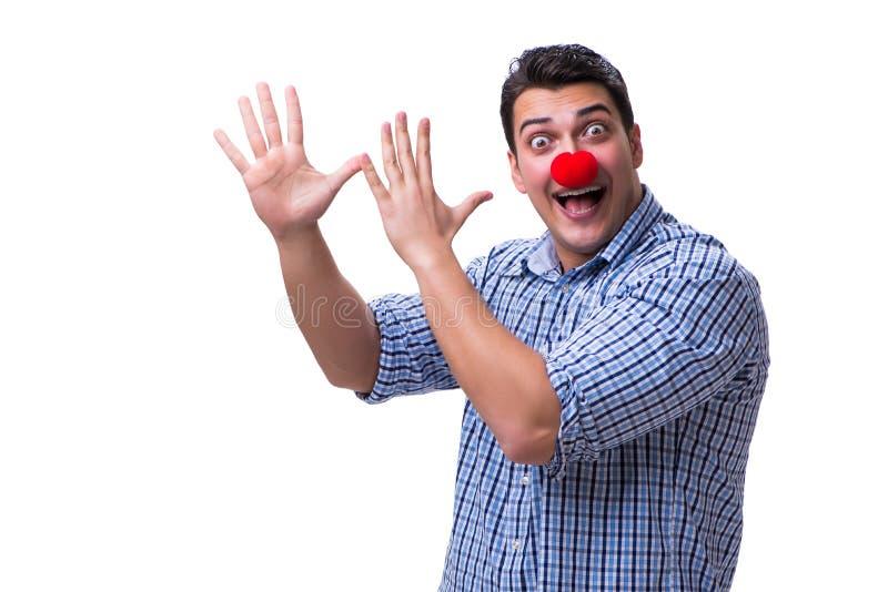 Śmieszny mężczyzna błazen odizolowywający na białym tle obrazy royalty free