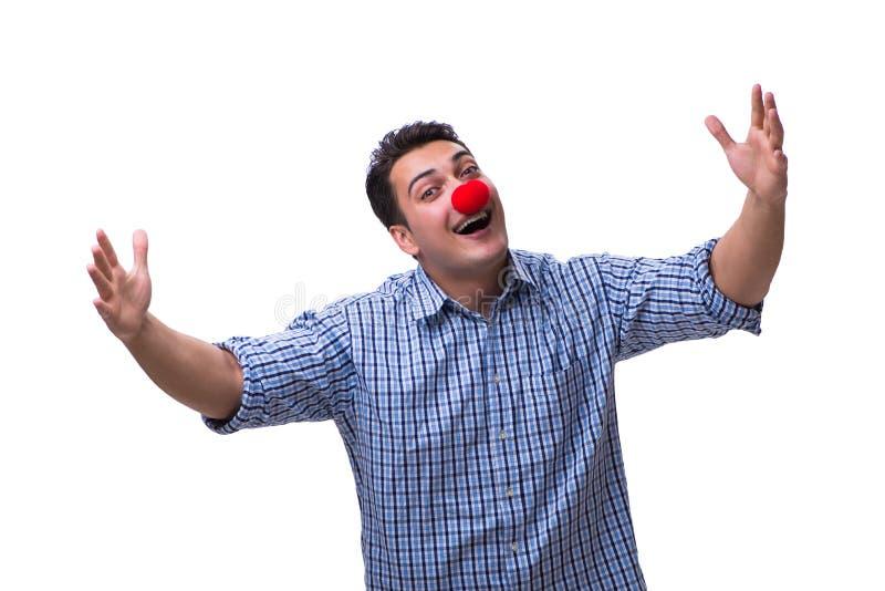 Śmieszny mężczyzna błazen odizolowywający na białym tle obraz royalty free