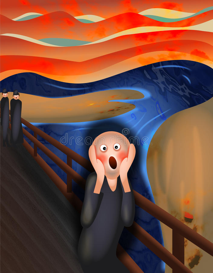 śmieszny mężczyzna portreta wrzasku target1571_0_ ilustracji