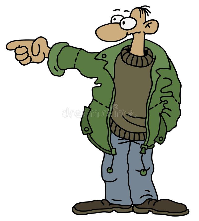 Śmieszny mężczyzna w zielonej kurtce royalty ilustracja
