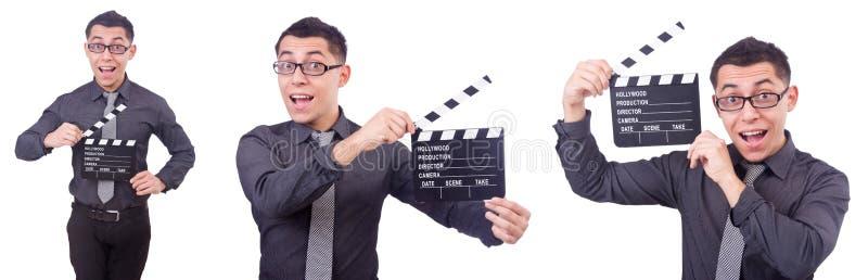 Śmieszny mężczyzna z filmu clapper fotografia stock