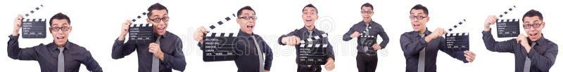Śmieszny mężczyzna z filmu clapper zdjęcie stock