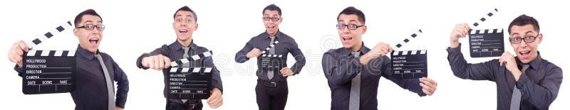 Śmieszny mężczyzna z filmu clapper obraz royalty free