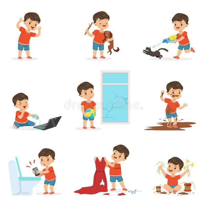 Śmieszny małe dziecko bawić się gry i robi bałaganowi ilustracja wektor