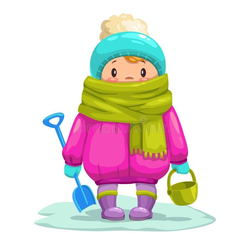 Śmieszny mały kreskówka dzieciak z zabawkarskim wiadrem i łopatą ilustracji
