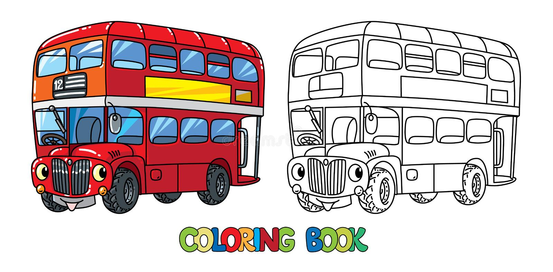 Śmieszny mały Londyński autobus z oczami książkowa kolorowa kolorystyki grafiki ilustracja ilustracji